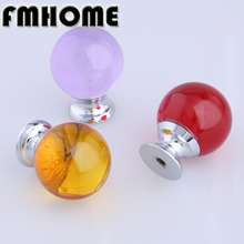 30oom moden simple fashion colour glass ball drawer tv table knobs pulls silver red purple brown glass kitchen cabinet handles