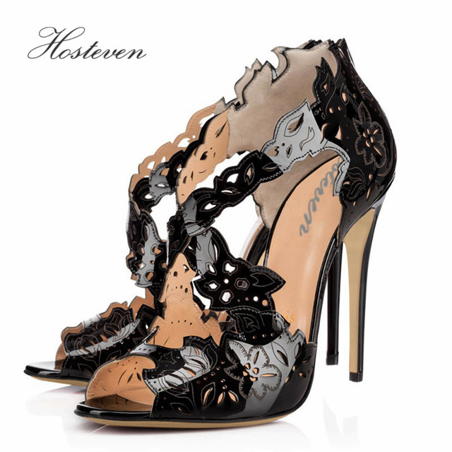 14d8d3e9f45 Hosteven Casual Women s Shoes Office Pumps Ladies Solid Peep Toe Patent  Leather Thin High Heel Shoes Plus Size 34-46