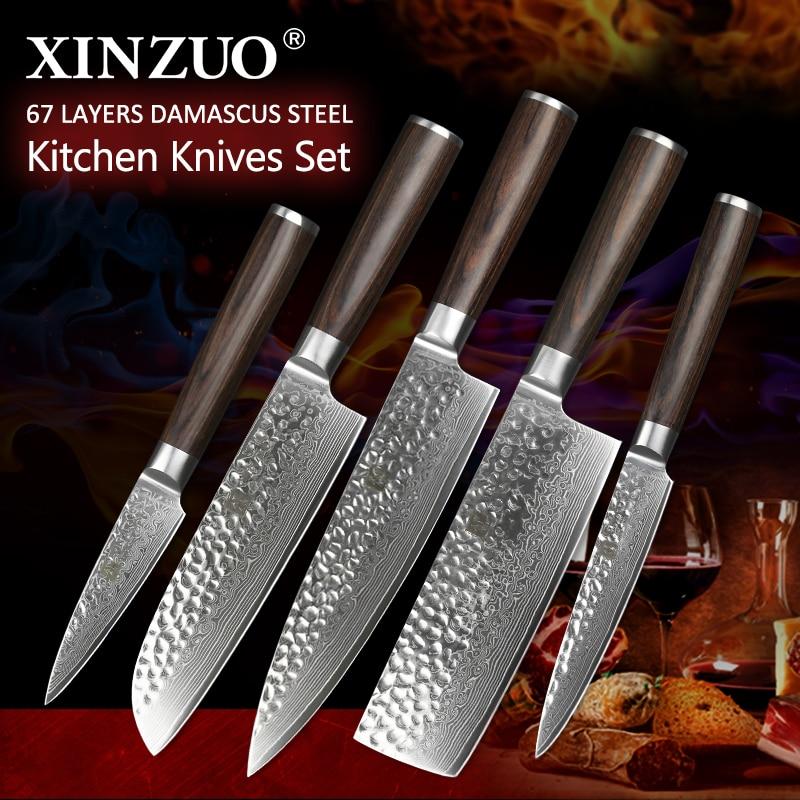 XINZUO 5 pcs Cuisine Couteaux Set Japonais Damas En Acier Inoxydable Nouveau conçu Couteau Couperet Couteau Nakiri avec Pakkawood Poignée