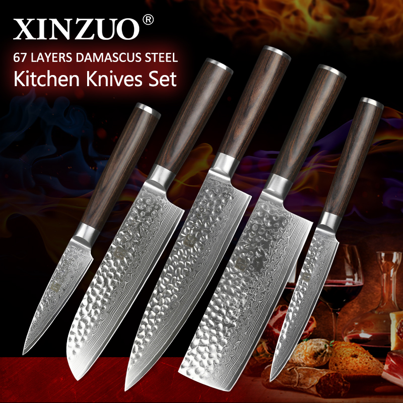 XINZUO 5 pcs Kitchen knives <font><b>set</b></font> Japanese Damascus stainless steel kitchen knife cleaver surper sharp chef knife Pakkawood handle