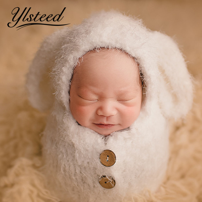 Infant Shooting Outfits Newborn Big Ears Animal Hat Sleeping Bag Set Baby Photo Prop Shower Gift Newborn Photography Accessories