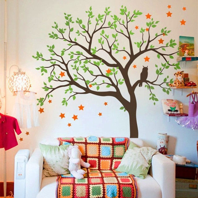 Large Tree Wall Sticker Vinyl Owls Stars Pattern Decal Kids Nursery Room Bedroom