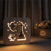 Ghost Decor Nightlight Lovely 3D Wooden Night Light Hallowsmas Holiday Lighting Table Desk Lamp DIY Csutomized LED Gift IY801101 недорого