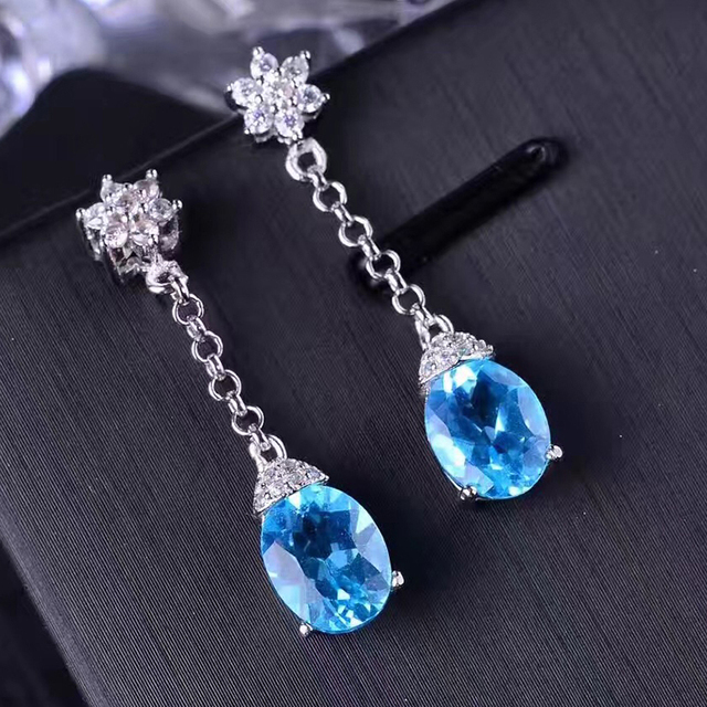Dazzling gemstone eardrop for evening party 6*8mm 1.2ct natural blue topaz drop earrings solid 925 silver topaz earrings