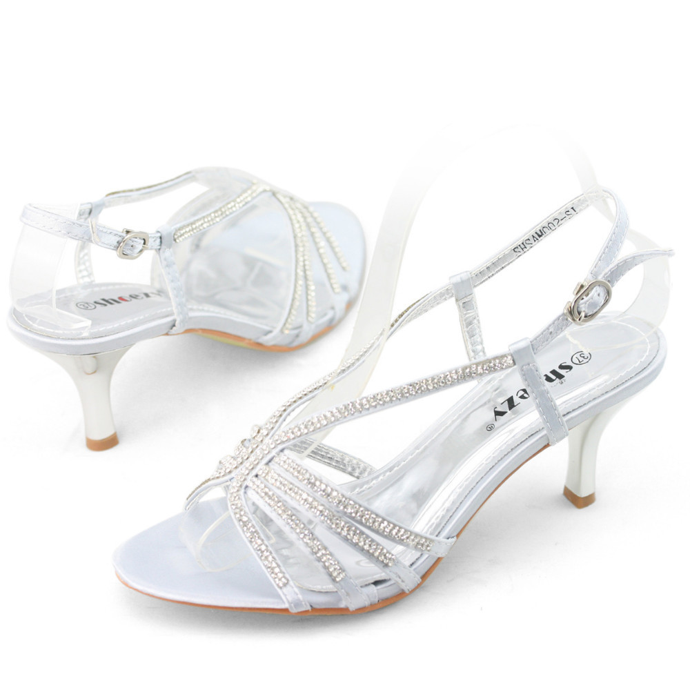 SHOEZY Brand Womens Low Heel Wedding Shoes Woman Diamante Kitten Heels Silver Party Prom Rhinestone Sandals Gold Mid In From