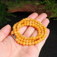 Hot Sale 100% Natural Yellow Jadeite Smooth 6mm Beads Elastic Line Necklace