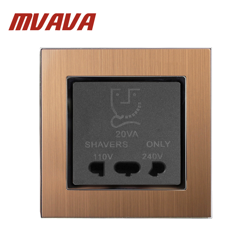 Free Shipping Shave Socket MVAVA 110V 240V Dual Voltage Bathroom Beard Shaver Charge Wall Socket Luxury Satin Metal Gold Panel in Electrical Sockets from Home Improvement