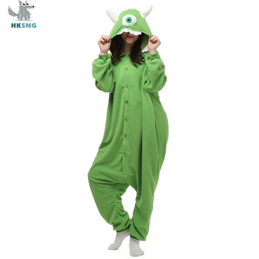 df1600c0f519 HKSNG Unisex Animal Adult Mike Wazowski Kigurumi Pajamas Flannel Cartoon  Monsters Family Party Halloween Onesies Costumes