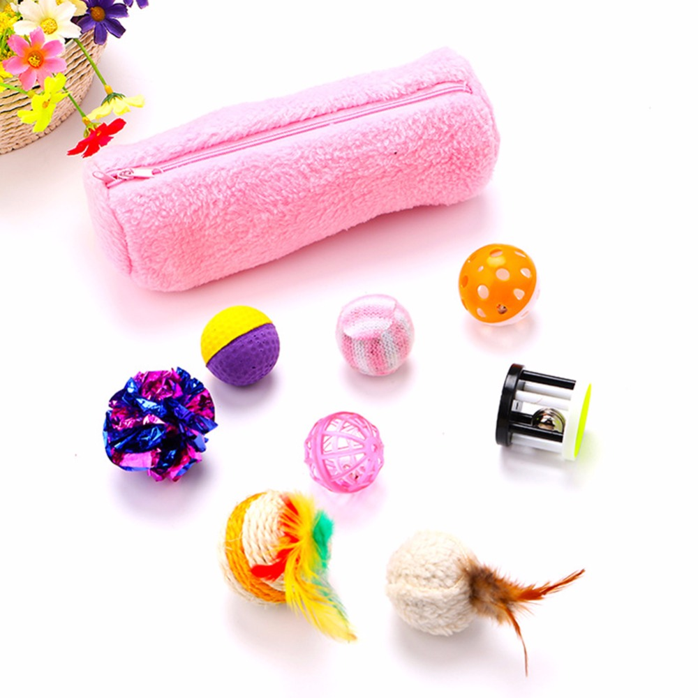 8 Pcs/Set Funny Puppy Pet Cat Toys Pink Feather Gatos Funny Interactive Training Balls Toy For Cats Pets Supplies