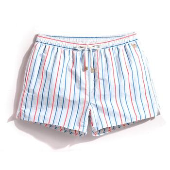 W nowym stylu S18 męskie szorty w paski szorty na lato mężczyźni gorące modne plażowe szorty męskie spodenki plażowe Plus Szie S-XXXL tanie i dobre opinie G5-MS106 POLIESTER Szorty kąpielowe