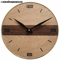 Homingdeco 30cm Wall Clock Vintage Antique Retro Solid Wood Textured Mute Wall Clocks Home Decor High Quality Dropshipping