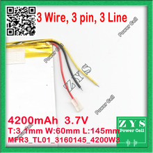 three Wire New 4200mAH Li-ion Pill computer battery For 7,eight,9 inch pill PC ICOO three.7V Polymer lithiumion Battery With Excessive High quality