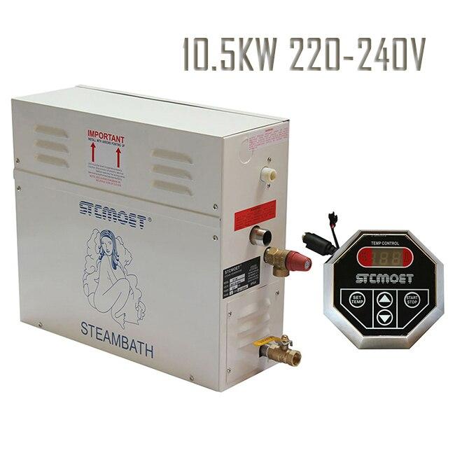 Frete grátis modelo Ecnomic 10.5KW 220-240 V Controlador de Gerador de Vapor Sauna Banho De Vapor com ST-135 Acessórios sala de Vapor