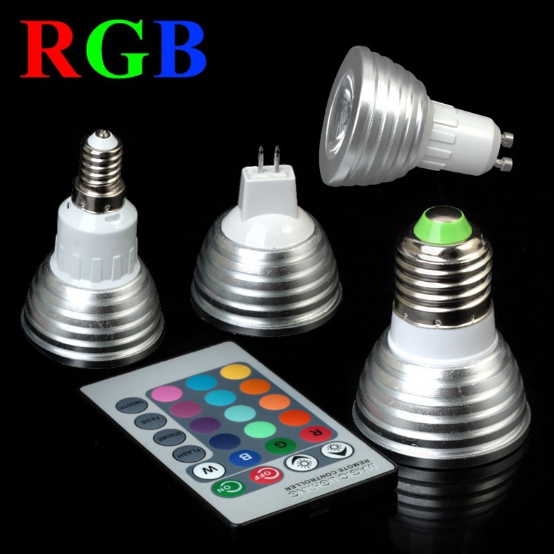 E27 E14 GU10 MR16 RGB LED Spot Lights Magic RGB LED Bulb Lighting With IR Remote Control 16 Colors