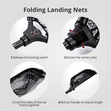 Extendable Folding Fishing Net Aluminum Handle With Rubber Grip Super Strong Easy to Carry