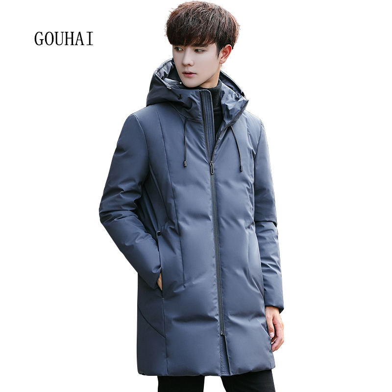 Casual Long Winter Jacket Men White Duck Down Jacket Men Parka Homme Thicking Warm Solid Hooded Coat Man Plus Size XXXL