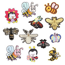 Cartoon Bee Iron on Patches for Clothing DIY Embroidery Stripe Clothes Animals Sequin Applique Badge Cloth Fabric