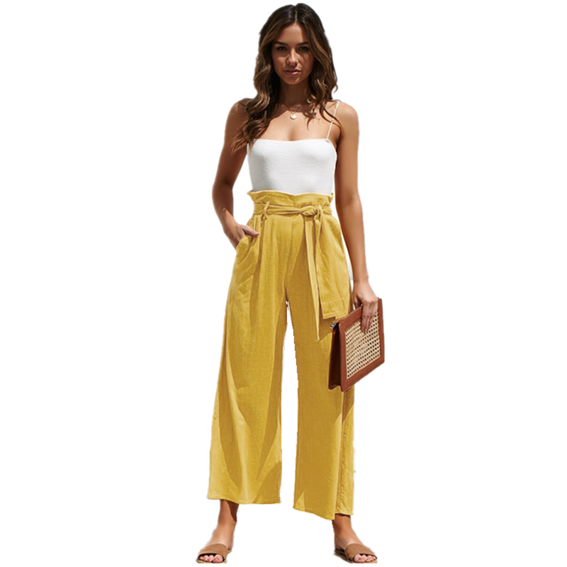 LOSSKY Solid Color Summer Women's Nine   Pants   2019 Casual Women's Loose High Waist Strap Bohemia Bandage   Wide     Leg     Pants