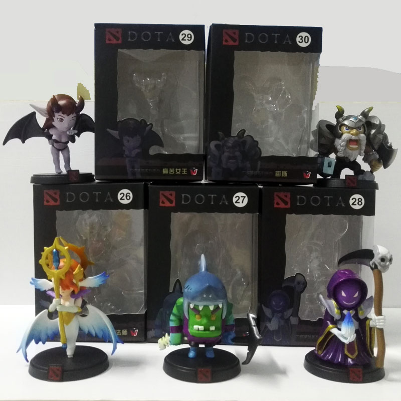 5pcs/set DOTA 2 Game Queen of pain Model Zeus Tidehunter Skywrath Mage Death Model Decoration Boxed PVC Action Figures toys earth 2 society vol 4 life after death