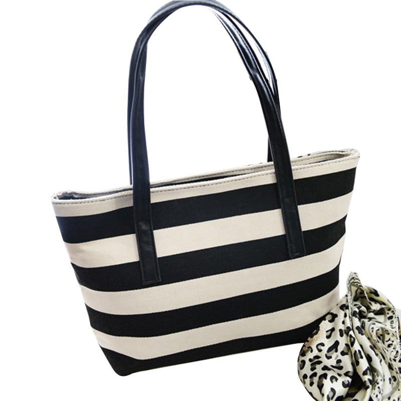 Fashion stripe Women handbags bag large capacity zipper canvas Women shoulder bag casual simple Women bag crossbody bag