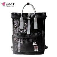 Flower Princess Original Design Embroidery Backpack Women Ladies Teenager Girls High School Travel Bags Backpack Black