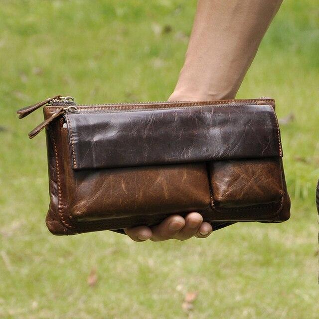 Прохладный винтаж настоящее натуральная кожа талии пакет мужской Моды случайные груди мешок мужчины fanny pack пояс деньги сумки клатч