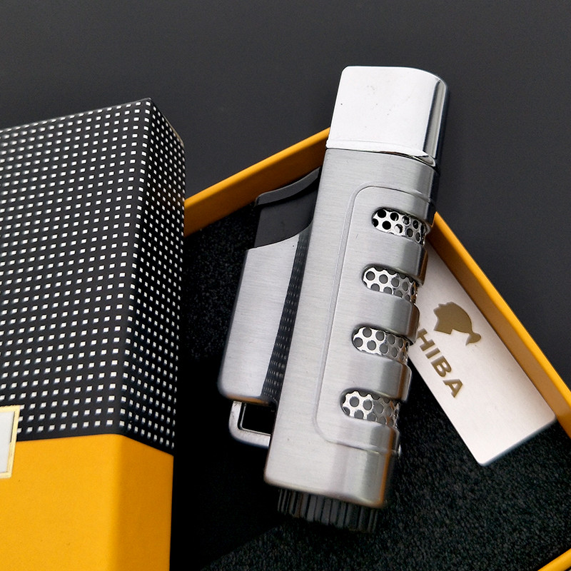 COHIBA Gun gray Jet Fire Windproof Cigar Lighter Classic Cuban Refillable Cigarette Flam ...