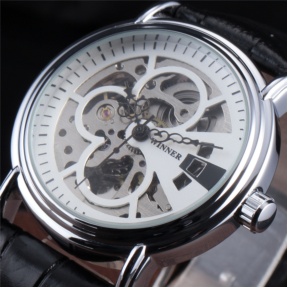 Winner Watch Men Skeleton Automatic Watches Leather Strap Silver Clock Luxury Fashion Casual Mechanical Wrist Watches t winner automatic mechanical watches fashion luxury gear shape silver skeleton dial wrist watch men noble casual clock leather