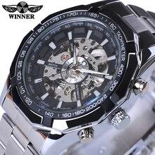 勝者ステンレス鋼スケルトンデザイナーメンズ腕時計トップブランドの高級自動カジュアル機械式時計時計男性腕時計