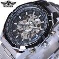 Vencedor Esqueleto de Aço Inoxidável Designer Mens Relógios Top Marca de Luxo Automático do Relógio Mecânico Ocasional Relógio Dos Homens relógio de Pulso
