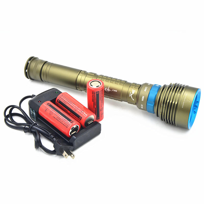 NEW 7x CREE XM-L2 LED 14000Lm Flashlight underwater diving Flashlight Torch With 4*26650 Battery + Charger new 14000lm scuba diving 7x cree xm l2 led dive flashlight torch light lantern with 3x 26650 battery