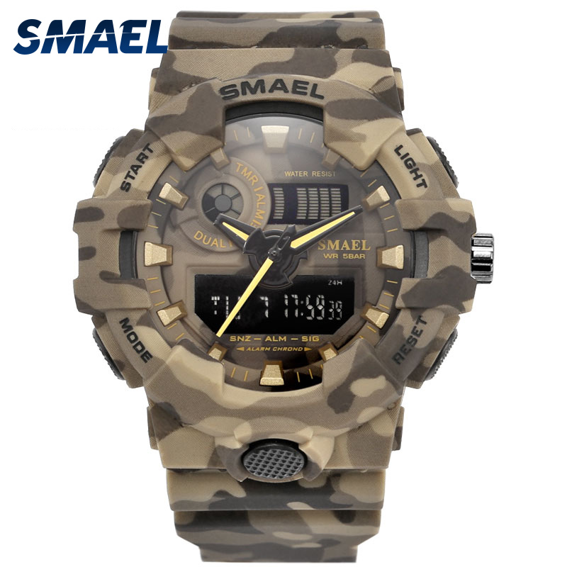 New Camo Watch Strap SMAEL Men Digital Watches Big Dial Fashion Camouflage Military Watch 8001 Mens Army Watch Waterproof Clock smael 1708b