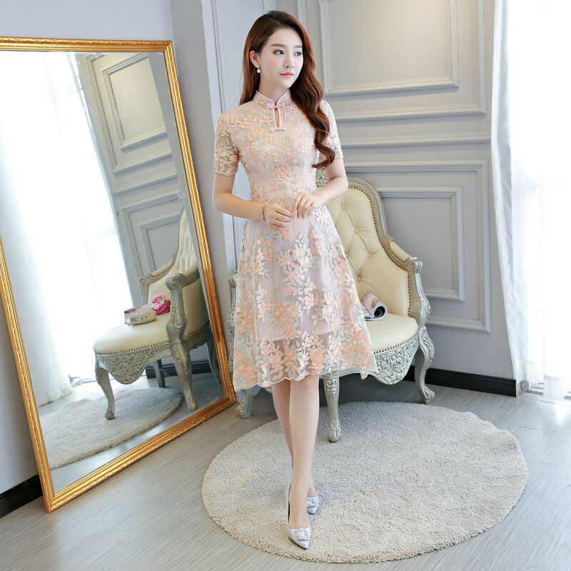 Short Style Fashion Women s Mini Cheongsam New Arrival Chinese Lace Qipao Dress Vestido Size S