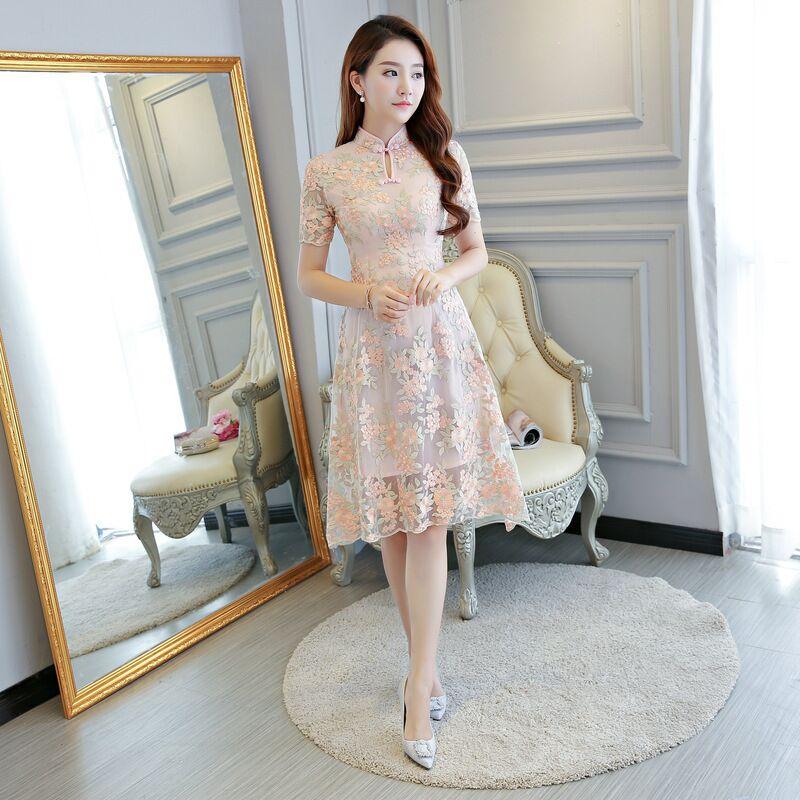 Short Style Fashion Women s Mini Cheongsam New Arrival Chinese Lace Qipao Dress Vestido Size S