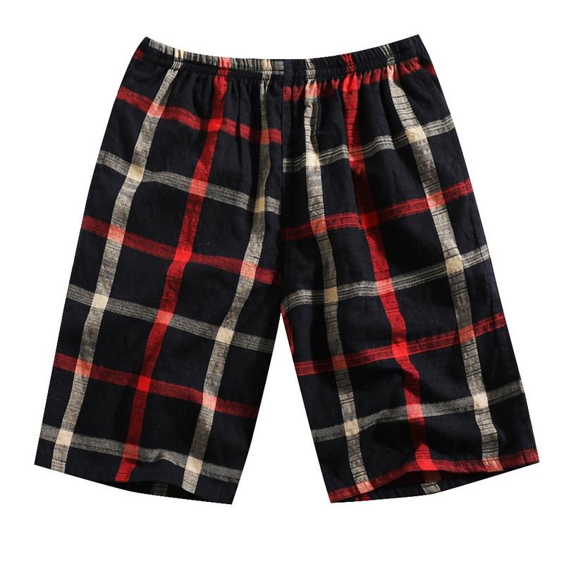 SHUJIN Summer Shorts Elastic Beach Casual Bottom Plaid Soft Loose Waist One-Size Homme