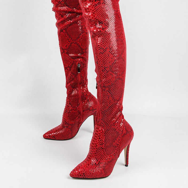 SARAIRIS/Новые модные красные ботинки с шнурками на ремешке высокие сапоги на очень тонком высоком каблуке с острым носком из змеиной кожи bottine femme