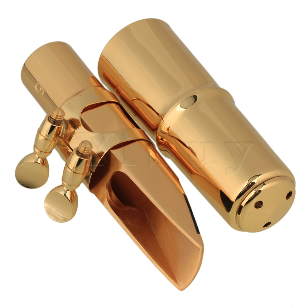Yibuy Gold  Plastic 6# Saxophone Mouthpiece Kit Set for E-flat Alto Saxophone advanced selmer a series alto e flat eb sax metal mouthpiece 7 for saxophone beginner gold plated saxe