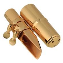 Yibuy Gold  Plastic 6# Saxophone Mouthpiece Kit Set for E-flat Alto Saxophone