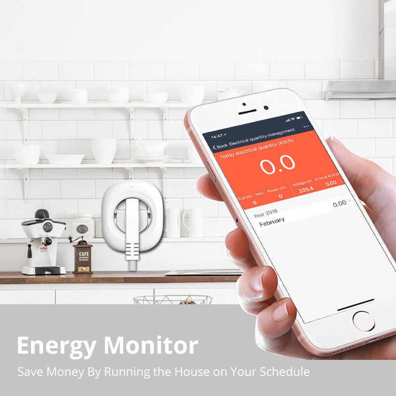 2018 nowy Mini inteligentne gniazdo WiFi wtyczka zasilania UE aplikacji mobilnej pilot zdalnego sterowania miernik zużycia energii współpracuje z Amazon Alexa Google domu