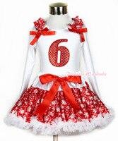 عيد الميلاد الثلج الأحمر pettiskirt 6th البريق الأحمر الثلج طباعة أبيض طويل الأكمام الأعلى الأحمر الكشكشة الأحمر القوس MAMW269