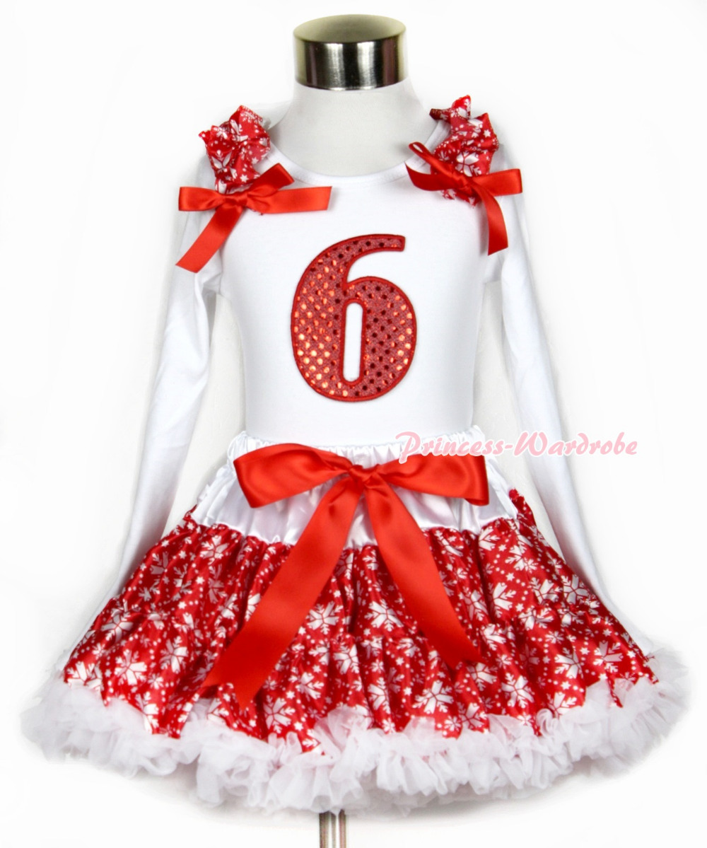 Xmas Red Snowflakes Pettiskirt 6th Sparkle Red Birthday Print White Long Sleeve Top Red Snowflakes Ruffles Red Bow MAMW269 xmas white tank top 2nd sparkle red birthday number with red snowflakes ruffles