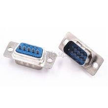 10 pcs RS232 DB9 masculino soquete do conector de porta serial/Plug conector 9pin RS232 COM adaptador de tomada de cobre