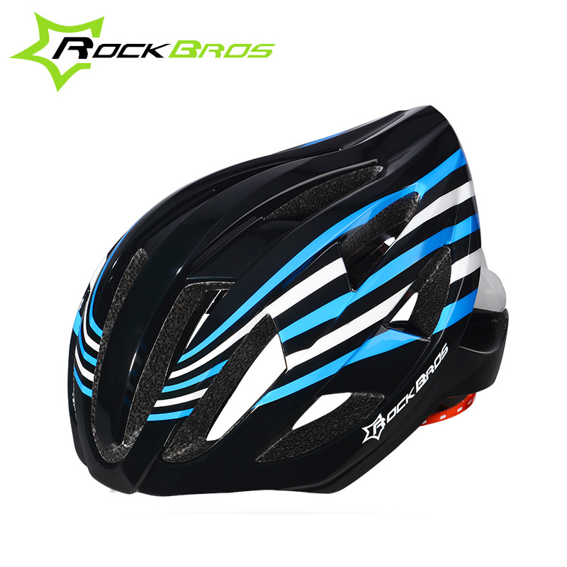 ROCKBROS Luminous Bicycle Helmet Integrally-molded Ultralight Road Cycling Helmet With Tail Light Mountain Road Bike Helmet TT-3 rockbros titanium ti pedal spindle axle quick release for brompton folding bike bicycle bike parts
