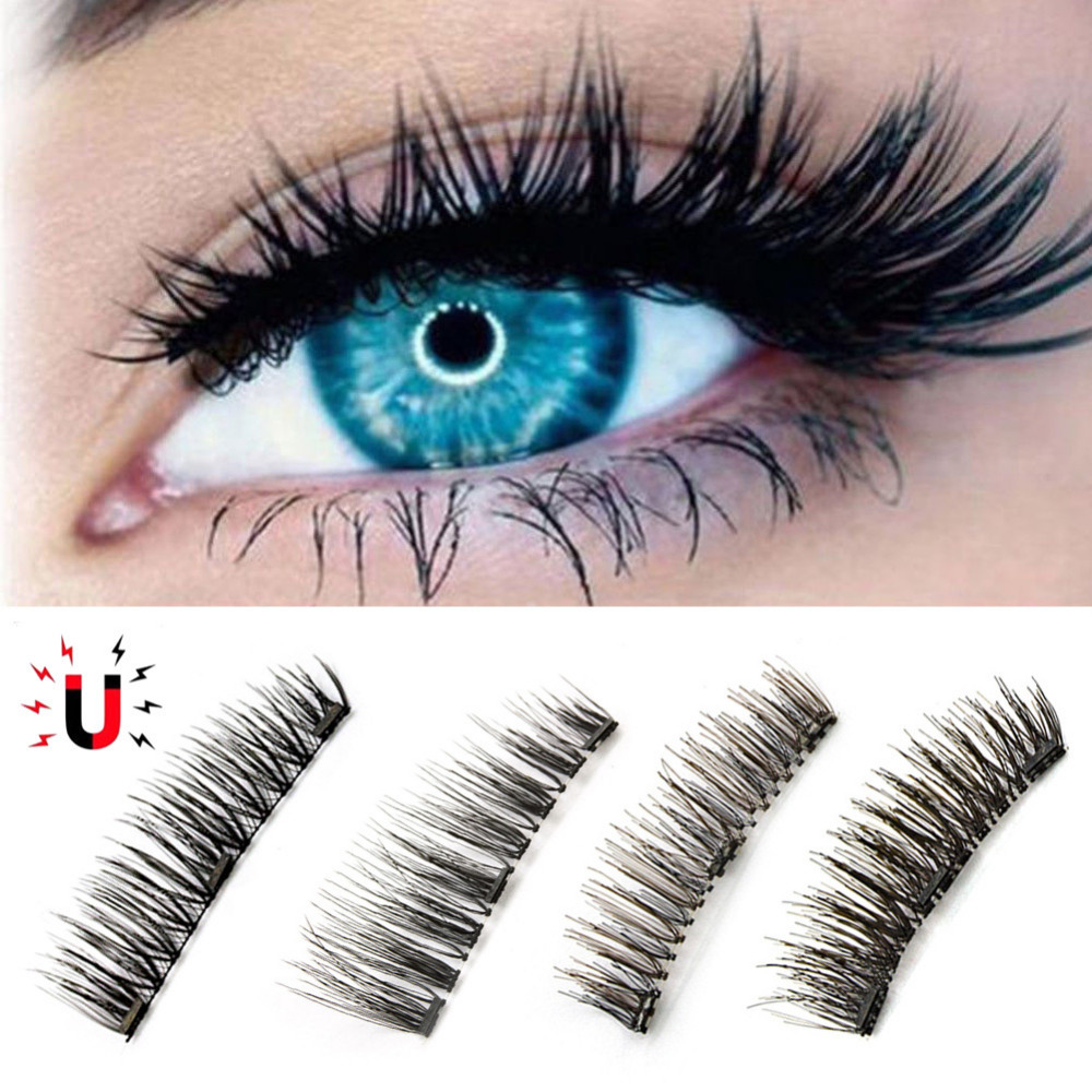 2 Pairs 3D 3pcs Magnetics False Eyelashes Natural Reusable False Eyelashes Extension Full Strip Fake Lashes Beauty Makeup Tool