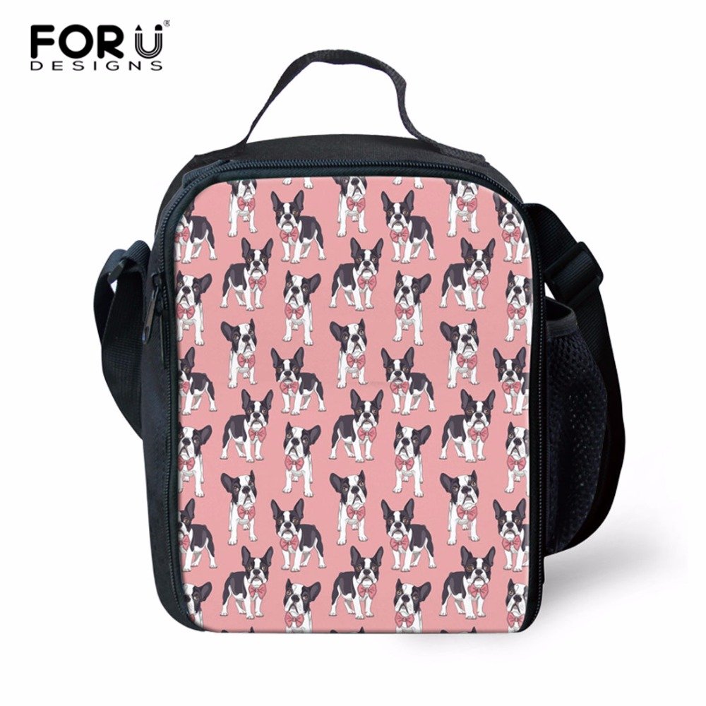 FORUDESIGNS Boston Terrier Printed Zipper Lunch Bag Thermal Food Picnic Keep Warm Insulated Lunch Bag for Women kids Men