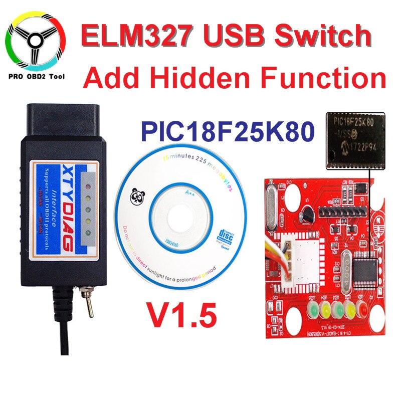 100% Haute Qualité PIC18F25K80 Puce ELM327 V1.5 USB Commutateur ELM 327 HS PEUT/MS PEUT Pour Forscan OBD2 De Diagnostic scanner