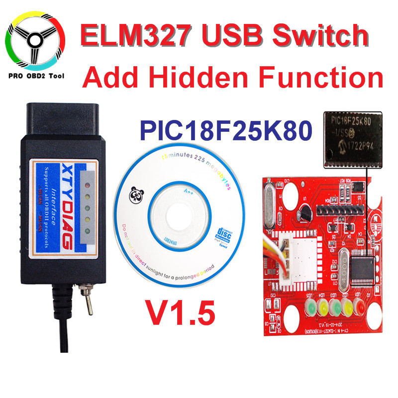 100% High Quality PIC18F25K80 Chip ELM327 V1.5 USB Switch ELM 327 HS CAN /MS CAN For Forscan OBD2 Diagnostic Scanner