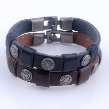 2 color Handmade Leather Bracelets & Bangle Braided Rope Leather Bracelet Wristband Jewelry for Men and Women Wholesale XY160498