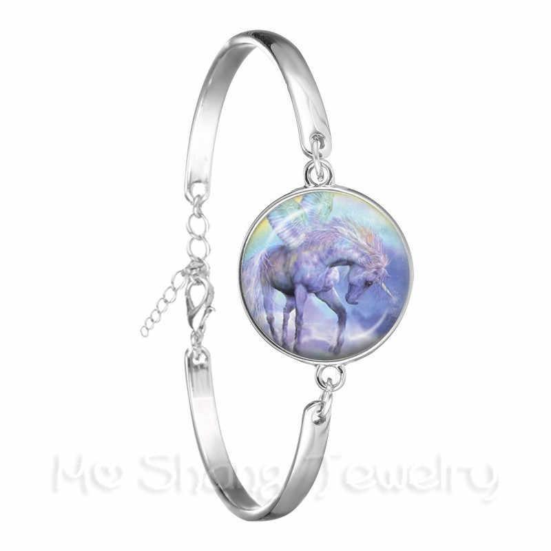 لطيف الأرجواني يونيكورن يطير الخيول 18 مللي متر الزجاج كابوشون سوار Jewely في الفضة مطلي الإسورة للنساء الفتيات هدية