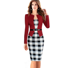 2015 Women Elegant Belted Tartan Long Sleeve Plaid Patchwork Tunic Work Business Casual Party Bodycon Pencil